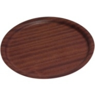 Tray Wood Veneer Dark Wood Non-Slip 270mm Diameter