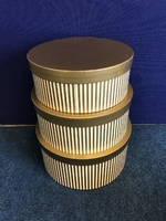 HAT BOX GOLD STRIPE SET OF 3 BOXES **AVAILABLE NOVEMBER**