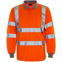 Supertouch Hi Vis Long Sleeve Bird Eye Polo Shirt Orange
