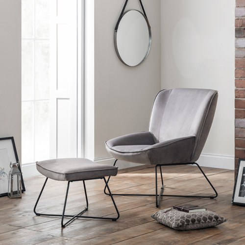 Mila Velvet Accent Chair - Grey in room