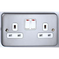 Vimark 2 Gang 13A Metalclad Switch Socket