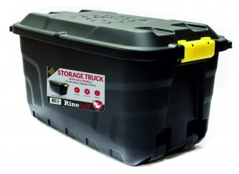 RHINOTUFF 75LTR STORAGE TRUNK WITH LID AND WHEELS