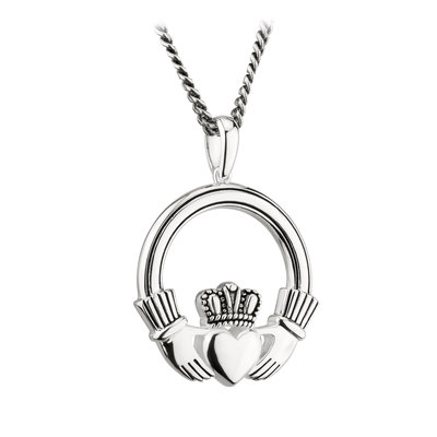 SILVER LARGE OXIDISED CLADDAGH PENDANT (BOXED)