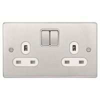 Schneider Ultimate Low Profile 2gang socket Brushed Chrome with Black Insert | LV0701.0010