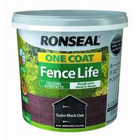 RONSEAL ONE COAT FENCELIFE TUDOR BLACK OAK 5 LTR