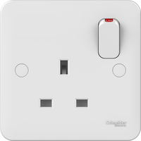 Schneider LWM 1 gang 13A Switched Socket Outlet