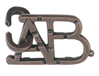 Cast ABC. Silver Cast Puzzle Difficulty Level 1. Can be ordered in multiples of 1.