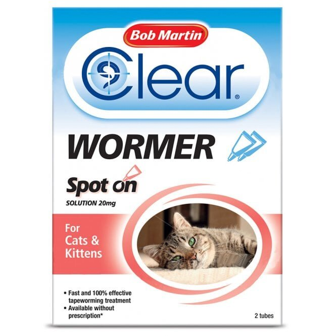 Bob Martin Clear Wormer Spot On for Cats & Kittens 10 x 2