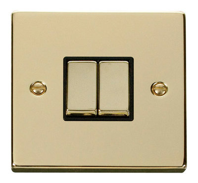 Click Deco Victorian Polished Brass with Black Insert 2 Gang 2 Way 'Ingot' Switch | LV0101.0173