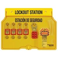 Master Lock 4-lock padlock station, english/spanish, Zenex™ thermoplastic padlocks