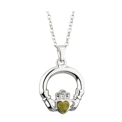 RHODIUM PLATED CONNEMARA MARBLE CLADDAGH PENDANT