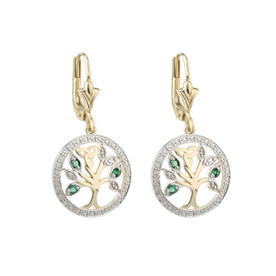 14K DIAMOND & EMERALD TREE OF LIFE EARRINGS (BOXED)