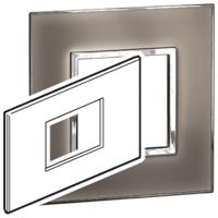 Arteor (British Standard) Plate 3 Module 2 Gang Square Mirror Taupe | LV0501.0180