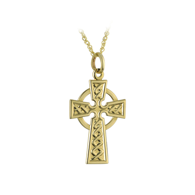 10 karat gold Celtic cross pendant on 18 inches 10 karat gold sing chain