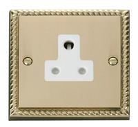 Click Deco Georgian Cast Brass with White Insert 5Amp Socket | LV0101.0062
