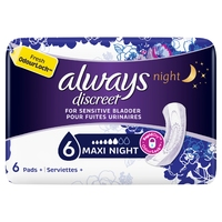 Always Discreet Maxi Night Incontinence Pads 6s