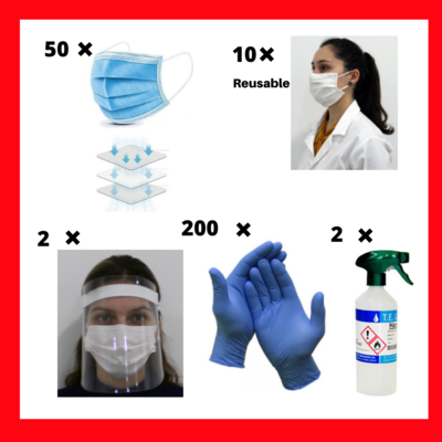 Covid Bundle - Package includes 50 x 3 ply surgical masks, 10 x  reusable masks , 2 x 500ml Hand Sanitizer, 2 x face shields , 200 x disposable gloves