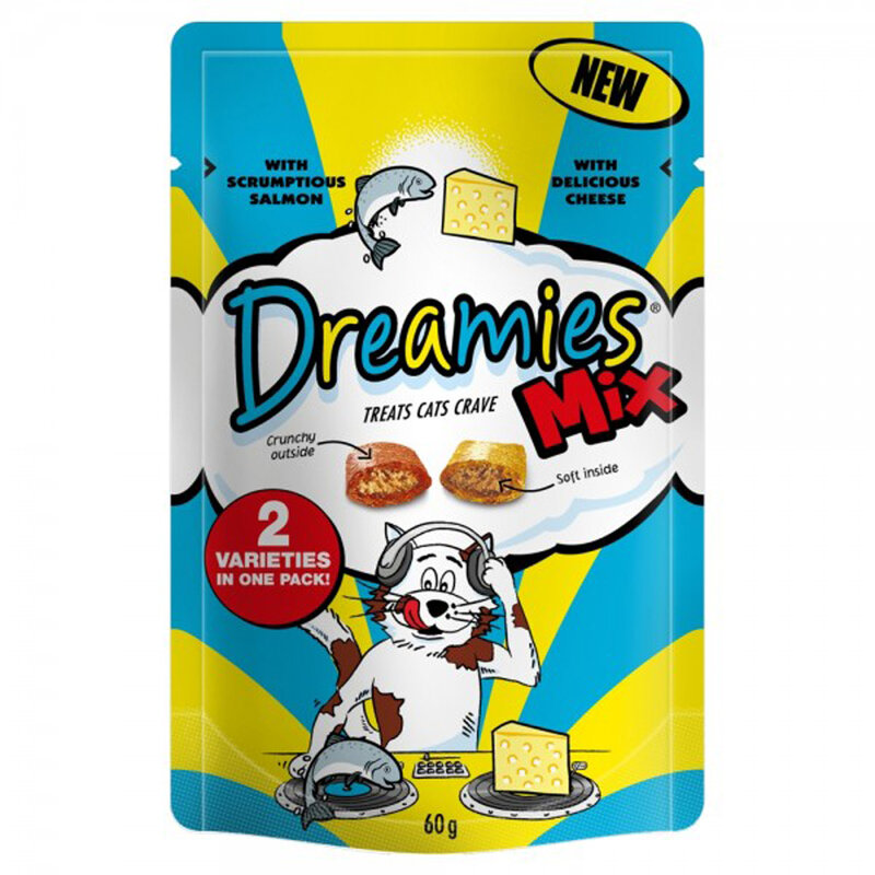 Dreamies Mix Salmon & Cheese Cat Treats 8 x 60g
