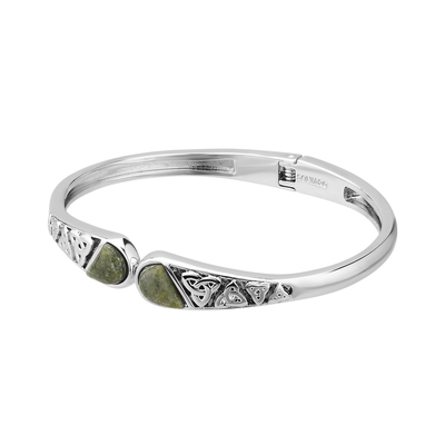 RHODIUM MARBLE TRINITYS HINGED BANGLE