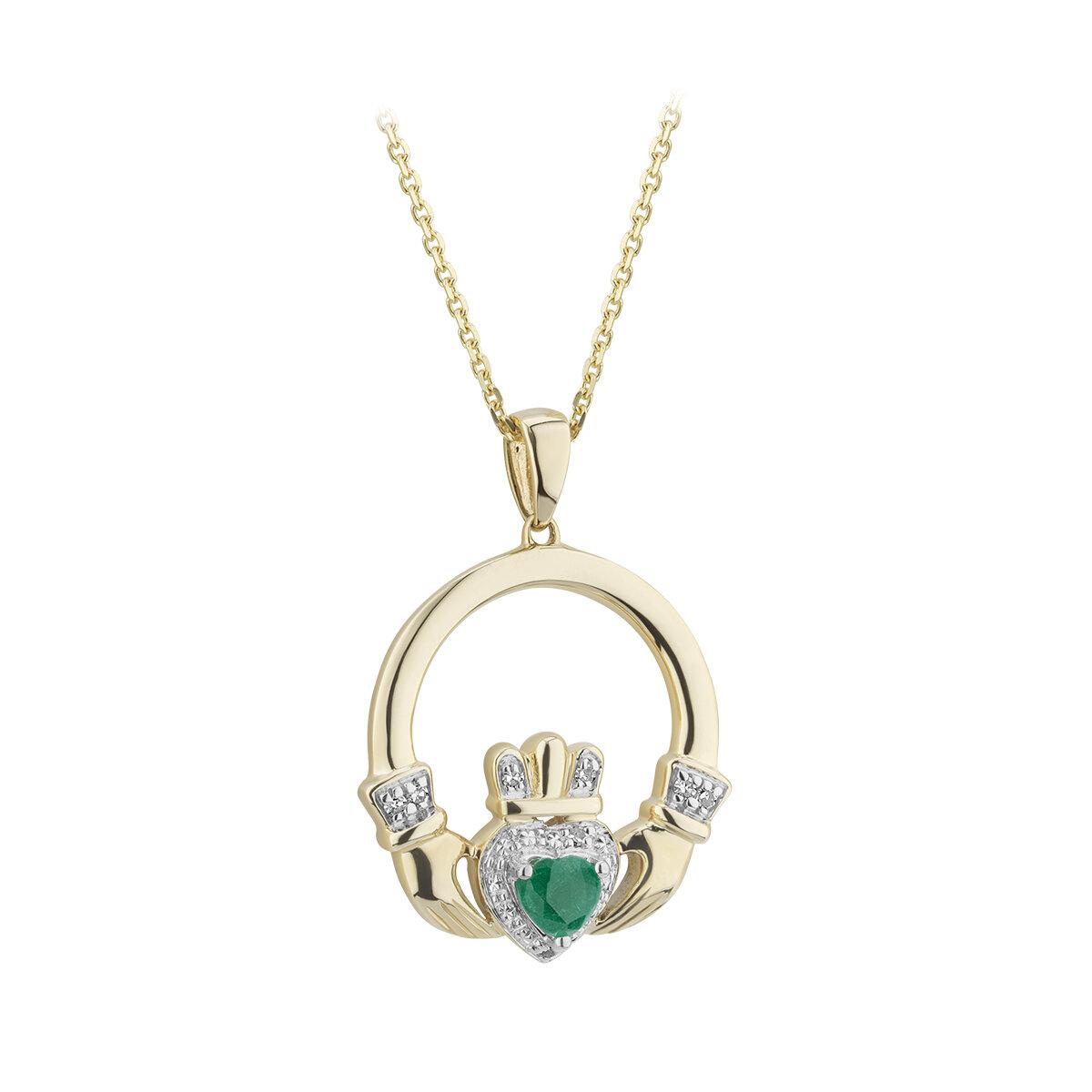 14k gold emerald and diamond claddagh pendant s46531 from Solvar