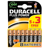 Duracell Plus AAA Battery 5+3 FOC