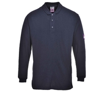 FR10 MODAFLAME Flame Retardant Anti Static Long Sleeve Polo Shirt Navy