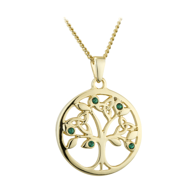 GOLD PLATED GREEN CRYSTAL TREE OF LIFE PENDANT