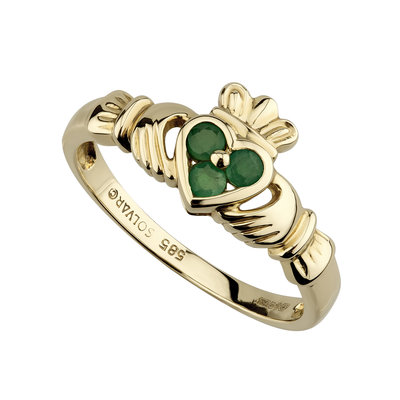 14K GOLD CLADDAGH EMERALD HEART RING (BOXED)