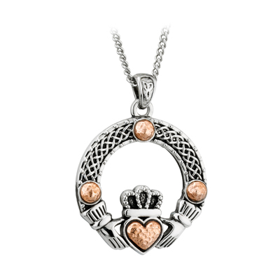 RHODIUM RGP DOME CLADDAGH PENDANT