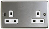 2 GANG  UNSWITCHED SURFACE SOCKET