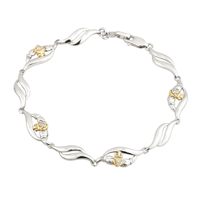 SILVER 10K GOLD & DIA CLADDAGH BRACELET(BOXED)