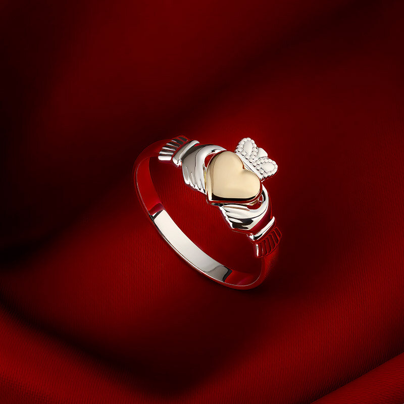 styled image of Solvar gold heart silver claddagh ring S21046