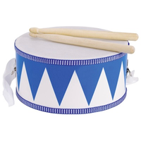 Children's toy drum with adjustable shoulder strap and wooden sticks