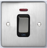 DETA Flat Plate small cooker switch with neon Satin Chrome with Black Insert | LV0201.0175