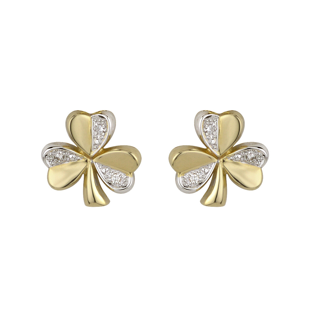 14K two tone gold diamond shamrock stud earrings s3124 from Solvar