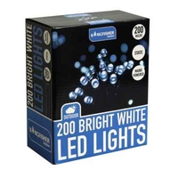 KINGFISHER 200 STATIC WHITE LED CHRISTMAS LIGHTS
