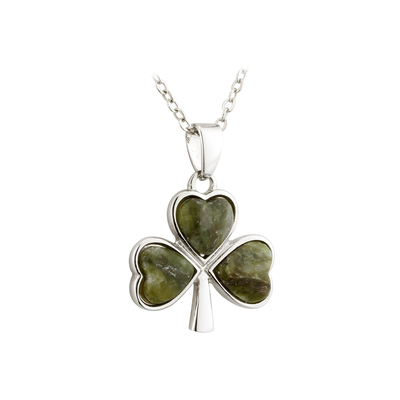 SILVER PLATED CONNEMARA MARBLE SHAMROCK PENDANT