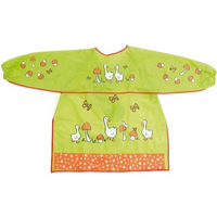 kids apron with mushrooms and geese on it