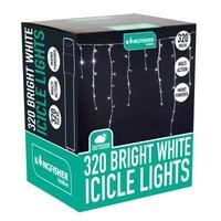 KINGFISHER 320 WHITE ICICLE LED CHRISTMAS LIGHTS