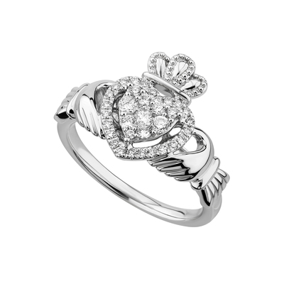 14K WHITE DIAMOND HEART CLADDAGH RING