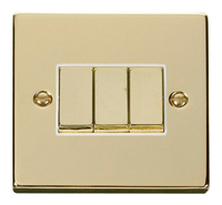 Click Deco Victorian Polished Brass with White Insert 3G 2 Way 'Ingot' Switch | LV0101.0150