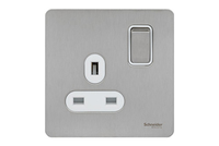 Schneider Ultimate Screwless 1 Gang Switch Stainless Steel white|LV0701.0925