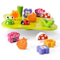 Children's wooden wobbly-garden balance game