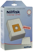 Nilfisk Vacuum Bag GM200 300 400 Microfibre 5 Pack + Filter Genuine