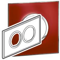 Arteor (British Standard) Plate 2x2 Module 2 Gang Round Mirror Red | LV0501.2719