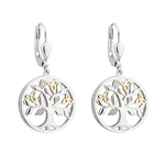 10K GOLD & DIAMOND SILVER TREE OF LIFE EARRINGS