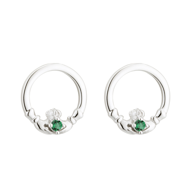 S/S GREEN CRYSTAL CLADDAGH STUD EARRINGS(BOXED)