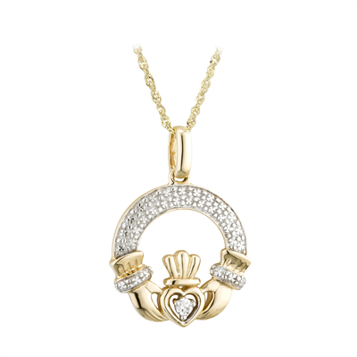 14K DIAMOND IRISH CLADDAGH NECKLACE (BOXED)
