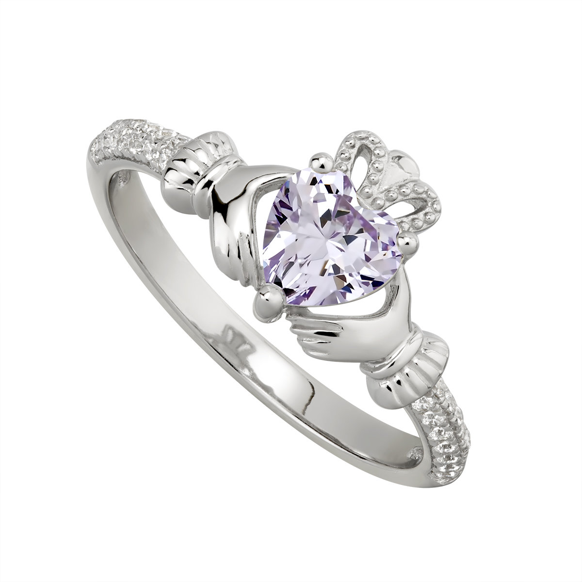 sterling silver claddagh ring june birthstone s2106206 from Solvar