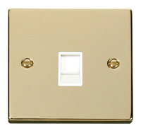 Click Deco Victorian Polished Brass with White Insert Single RJ45 Socket | LV0101.1809